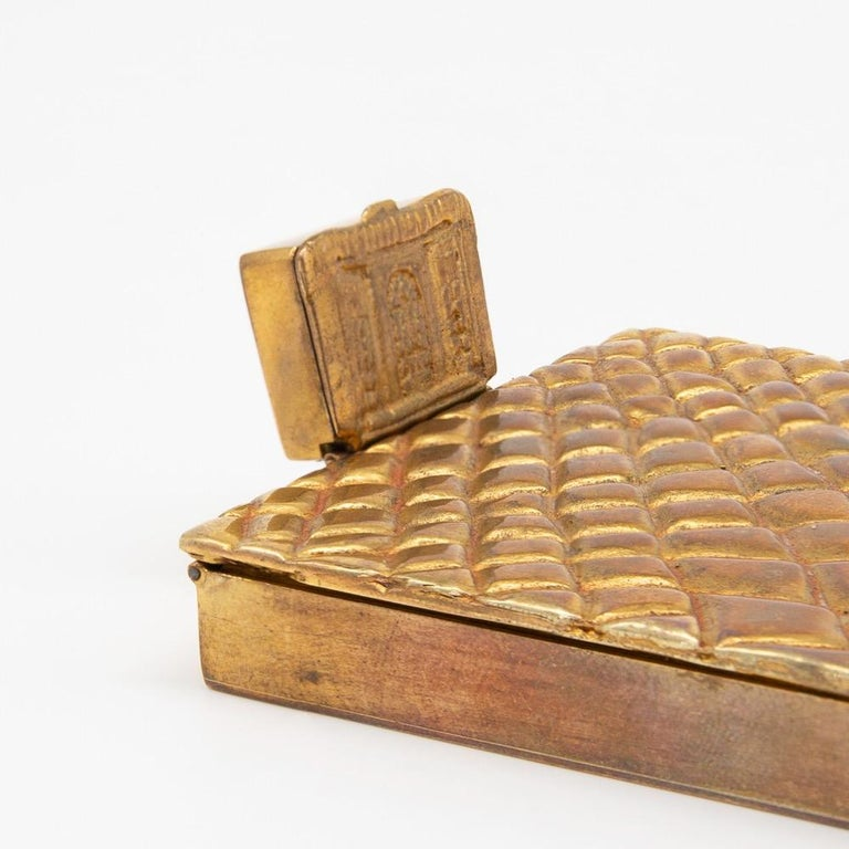 Mid-Century Modern Compact or Box by Line Vautrin, France, Le Trianon, Gilded Bronze, Signed For Sale
