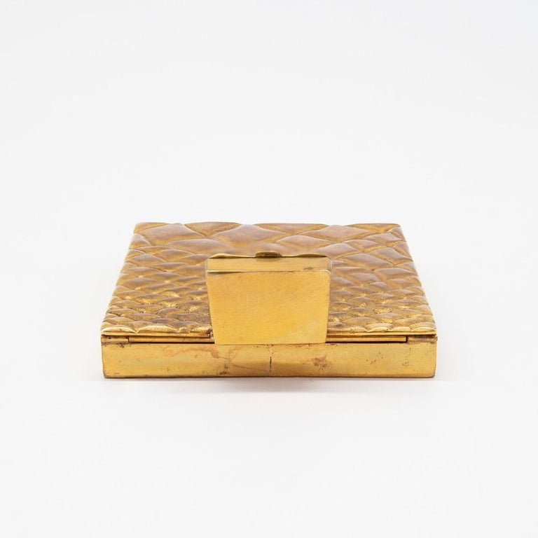 French Compact or Box by Line Vautrin, France, Le Trianon, Gilded Bronze, Signed For Sale