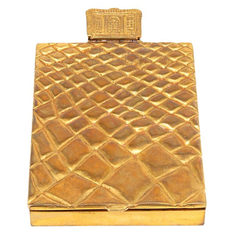 Compact or Box by Line Vautrin, France, Le Trianon, Gilded Bronze, Signed For Sale