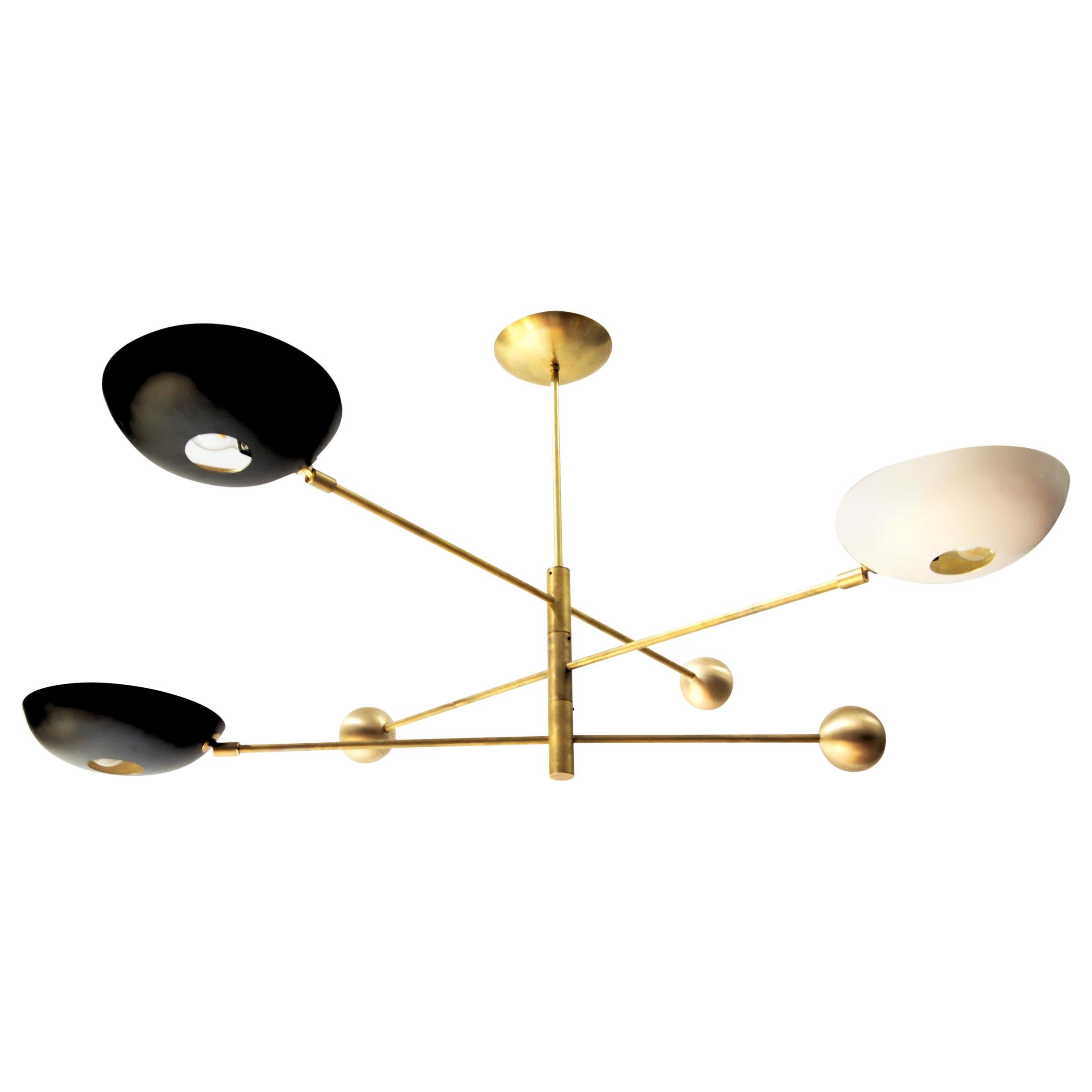 Compact Orbitale Brass Chandelier 3 Rotating Balanced Arms, Low Ceiling Featured
