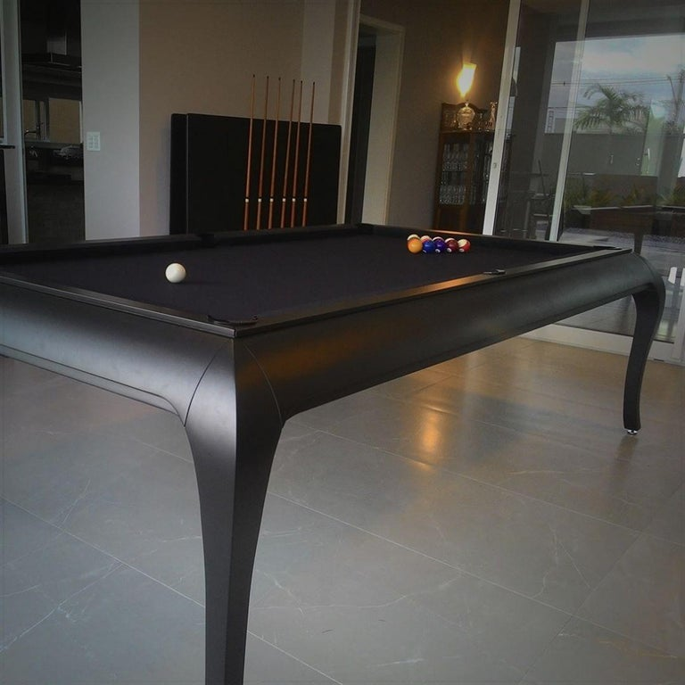 Compact Size POOL Table with Dining Top in Black Wood with the Grafite Felt For Sale 4