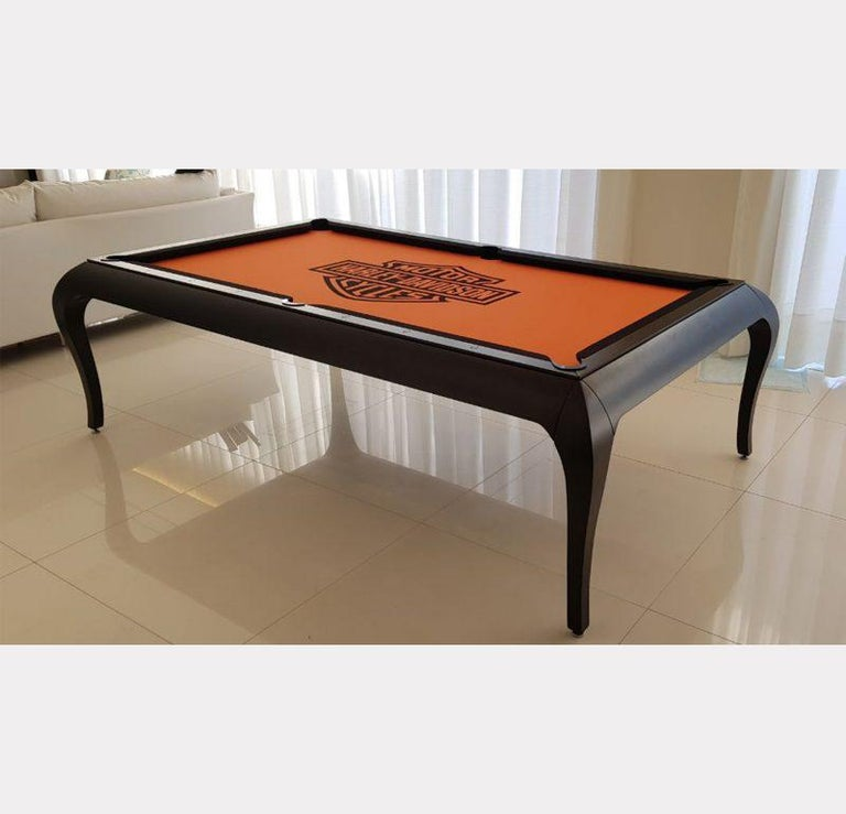Compact Size POOL Table with Dining Top in Black Wood with the Grafite Felt For Sale 5