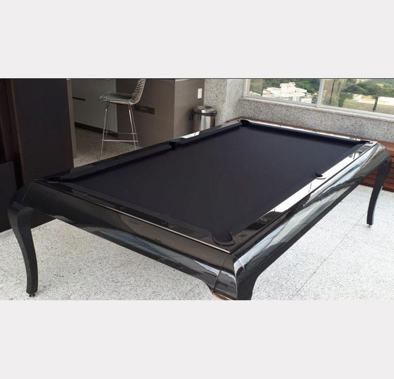 Compact Size POOL Table with Dining Top in Black Wood with the Grafite Felt For Sale 6