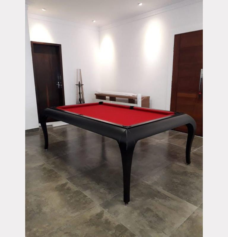 Compact Size POOL Table with Dining Top in Black Wood with the Grafite Felt For Sale 8