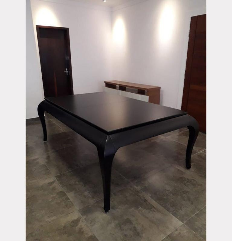Compact Size POOL Table with Dining Top in Black Wood with the Grafite Felt For Sale 9