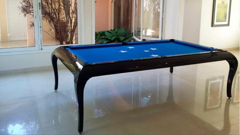 Brazilian Compact Size POOL Table with Dining Top in Black Wood with the Grafite Felt For Sale