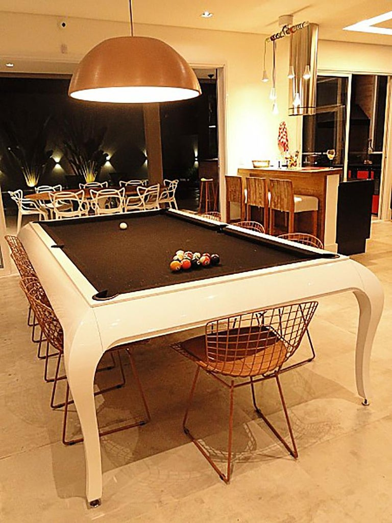Contemporary Compact Size POOL Table with Dining Top in Black Wood with the Grafite Felt For Sale