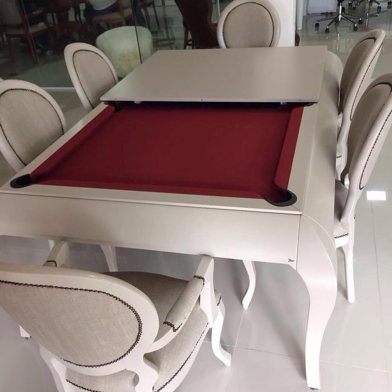 Compact Size POOL Table with Dining Top in Black Wood with the Grafite Felt For Sale 2
