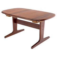 Compact Solid Teak Danish Mid-Century Modern Dining Table with Two Leaves