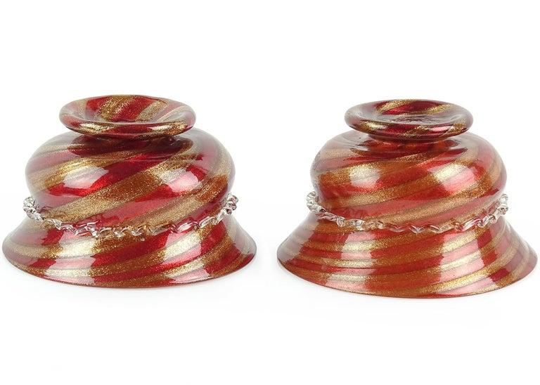 Victorian Compagnia di Venezia E Murano Aventurine Ruby Cane Italian Art Glass Footed Bowl For Sale