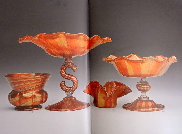 Compagnia di Venezia E Murano Aventurine Ruby Cane Italian Art Glass Footed Bowl For Sale 1