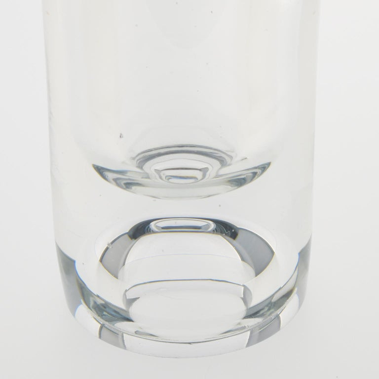 Stylish modernist crystal vase by Compagnie Francaise du Cristal or De Belroy (Daum). Modern slim design with thick base and tumbler shape. With original sticker label on the side. This vase belongs to the Galaxie Collection created by De Belroy