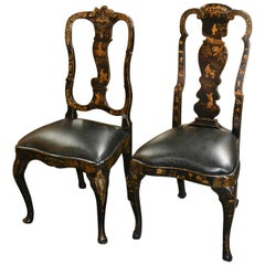 Companion Pair of 19th Century Black Chinoiserie English Side Chairs