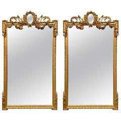 Companion Pair of 19th Century French Louis XVI Style Carved and Giltwood Mirror