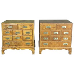 Companion Pair of Bulred Walnut Campaign Style Bachelors Chests Nightstands