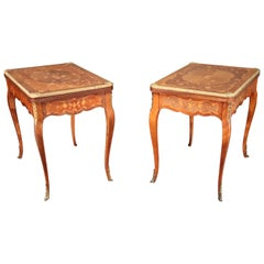 Companion Pair of Inlaid Kingwood  French Louis XV Bronze Mounted Game Tables