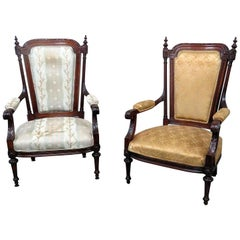 Large Companion Pair of Louis XVI Style Parlor Armchairs