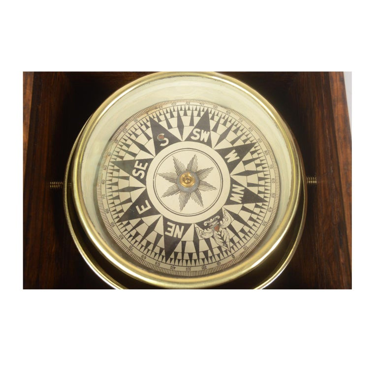 British Compass in Its Original Wooden Box English Manufacture, 1860 For Sale