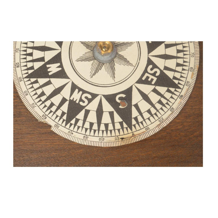Brass Compass in Its Original Wooden Box English Manufacture, 1860 For Sale