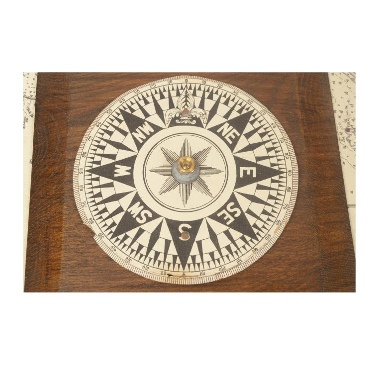 Compass in Its Original Wooden Box English Manufacture, 1860 For Sale 2