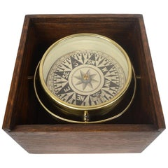 1860 English Antique Brass Nautical Magnetic Dry Compass in Original Wooden Box