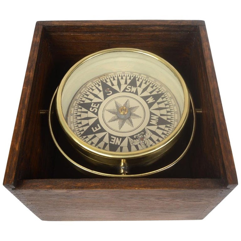 Compass in Its Original Wooden Box English Manufacture, 1860 For Sale