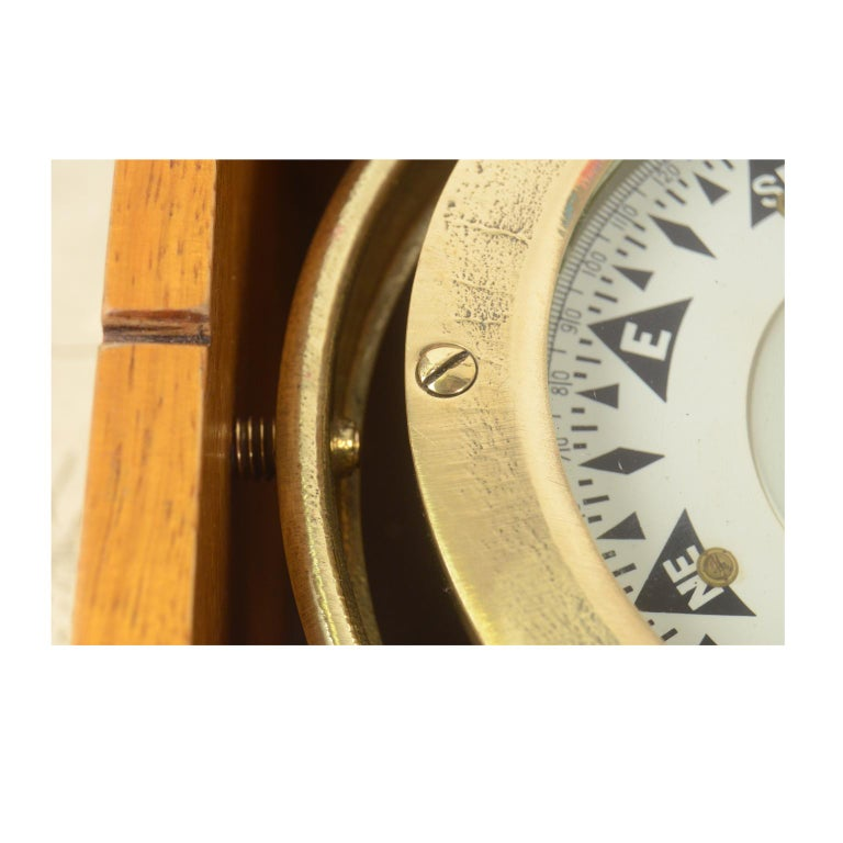 British Compass in its Original Wooden Box Signed Sestrel Early 1900s For Sale