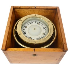 Compass in its Original Wooden Box Signed Sestrel Early 1900s