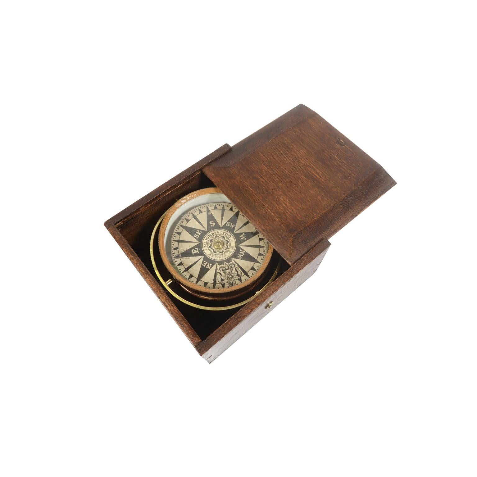 Compass in its Original Wooden Box W. T. Fisher, Mid 19th Century