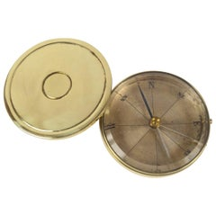 1900s French Manufacture Antique Pocket Magnetic Compass Made of Turned Brass