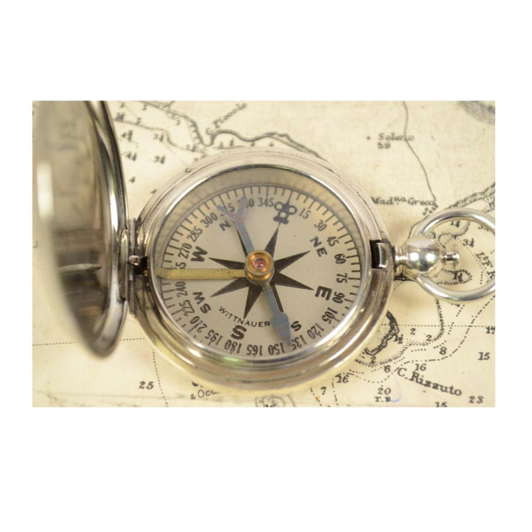 Compass Used by the American Aviation Officers in the 1920s Signed Wittnauer For Sale 1
