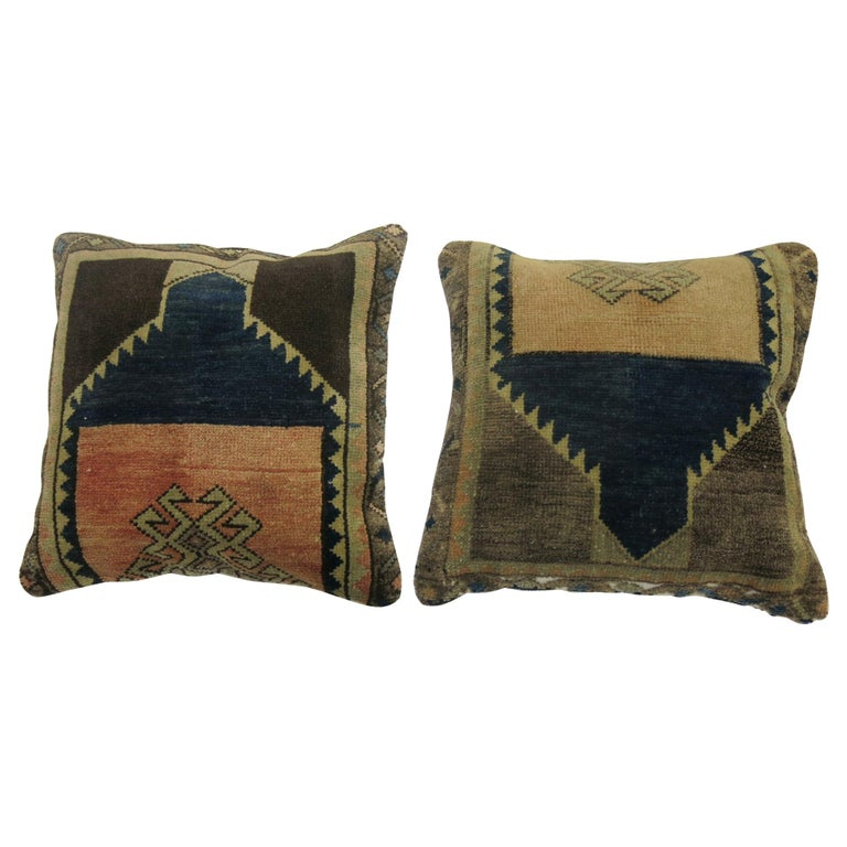 Complementary Set of 20th Century Turkish Rug Pillows For Sale