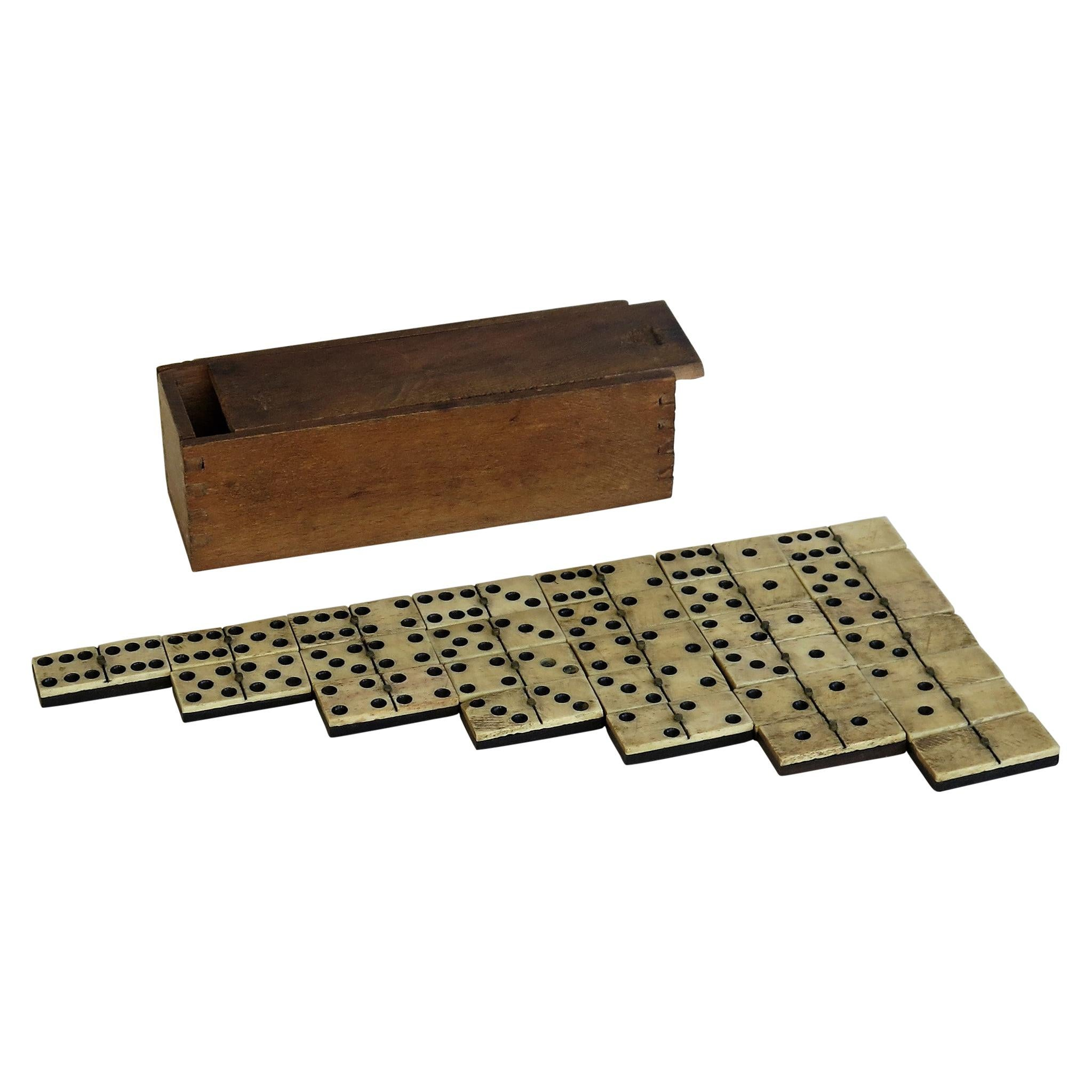 Complete 19th Century Domino Game in Hardwood Jointed Box, circa 1870