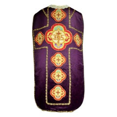 Complete Christian Embroidered chasuble set -  Circa 1880/1920