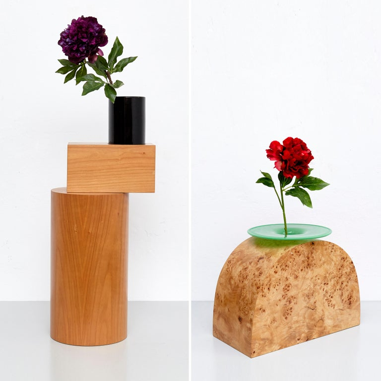 Complete Ettore Sottsass Twentyseven Woods Vases for Chinese Artificial Flowers For Sale 4