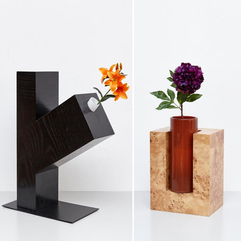 Complete Ettore Sottsass Twentyseven Woods Vases for Chinese Artificial Flowers For Sale 6