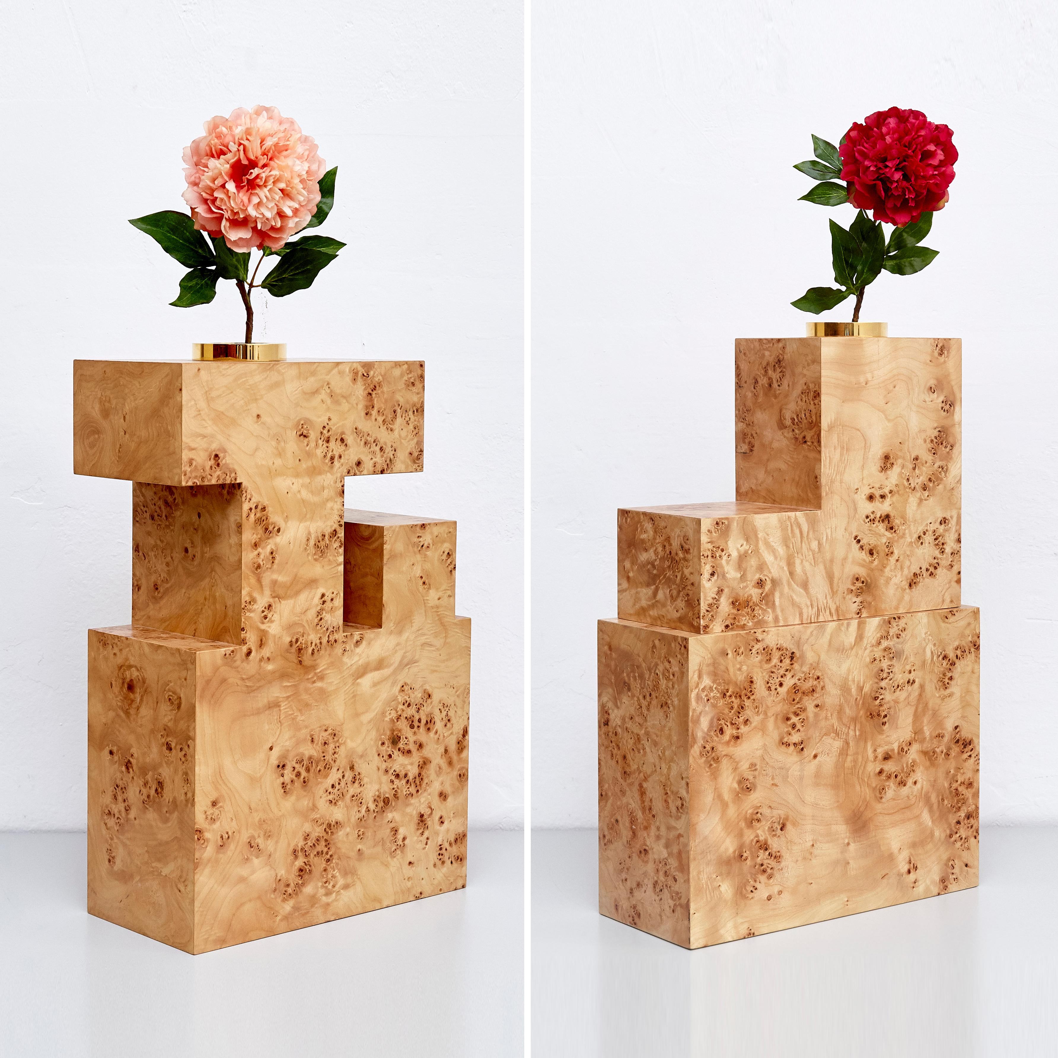 1stDibs & Complete Ettore Sottsass Twentyseven Woods Vases for Chinese Artificial Flowers