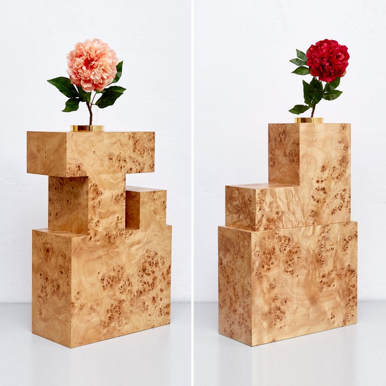 Complete full collection of Twenty-seven wood vases for Chinese artificial flowers by Ettore Sottsass,  Edited by Design Gallery Milano, 1995.  Laminated wood, metal and glass.  Limited edition of 12 pieces per model, all stamped and brass