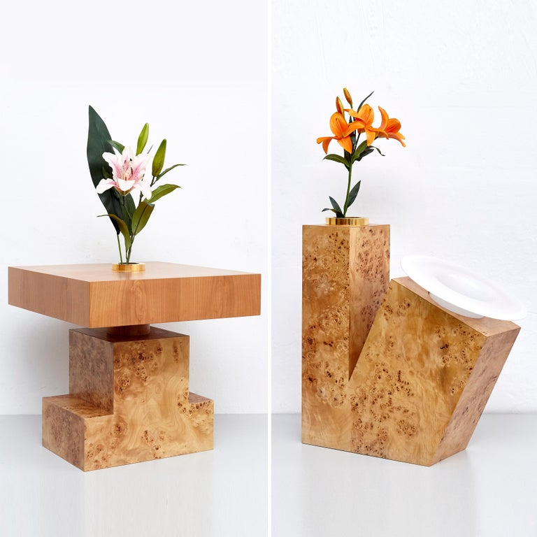 Modern Complete Ettore Sottsass Twentyseven Woods Vases for Chinese Artificial Flowers For Sale