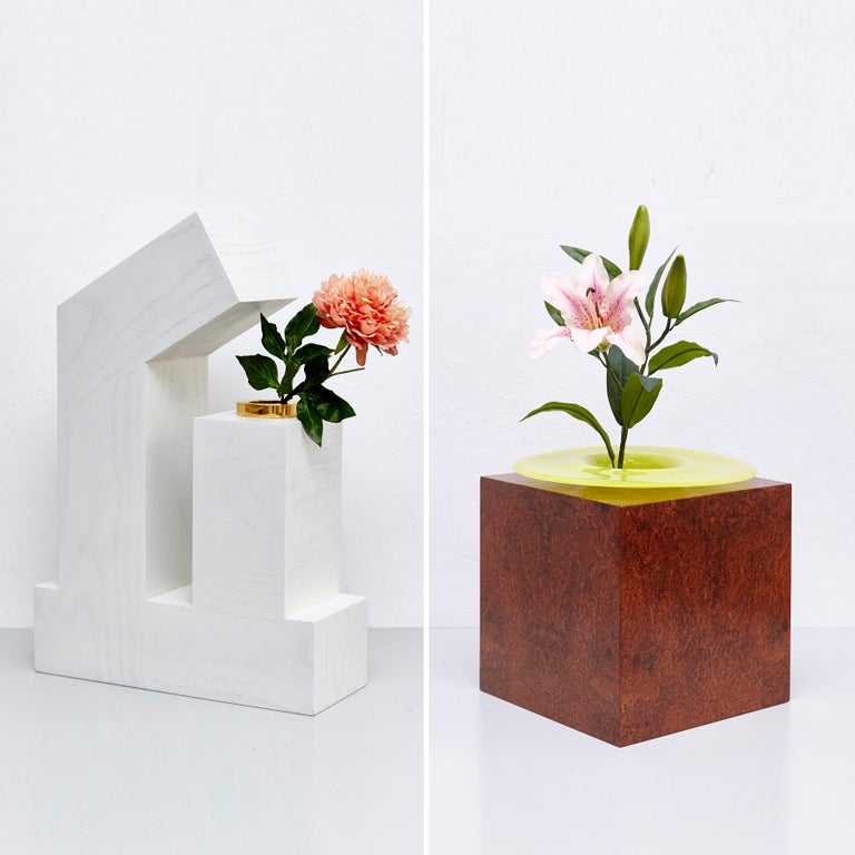 Italian Complete Ettore Sottsass Twentyseven Woods Vases for Chinese Artificial Flowers For Sale