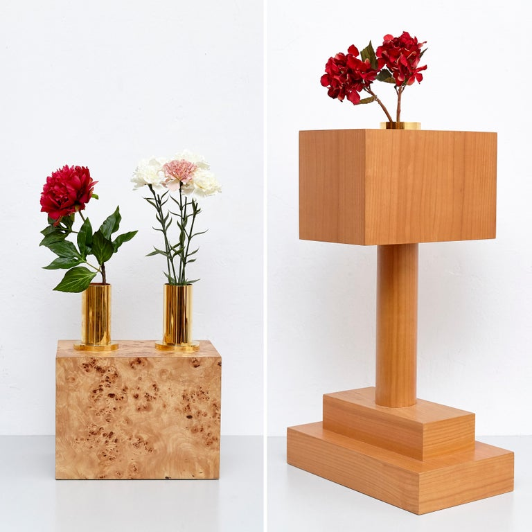 Complete Ettore Sottsass Twentyseven Woods Vases for Chinese Artificial Flowers In Good Condition For Sale In Barcelona, Barcelona