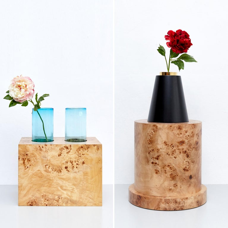 Brass Complete Ettore Sottsass Twentyseven Woods Vases for Chinese Artificial Flowers For Sale