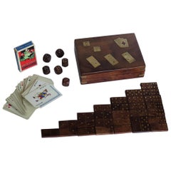 Complete Handmade Game Box with Dominoes, Six Dice & Playing Cards, circa 1940s