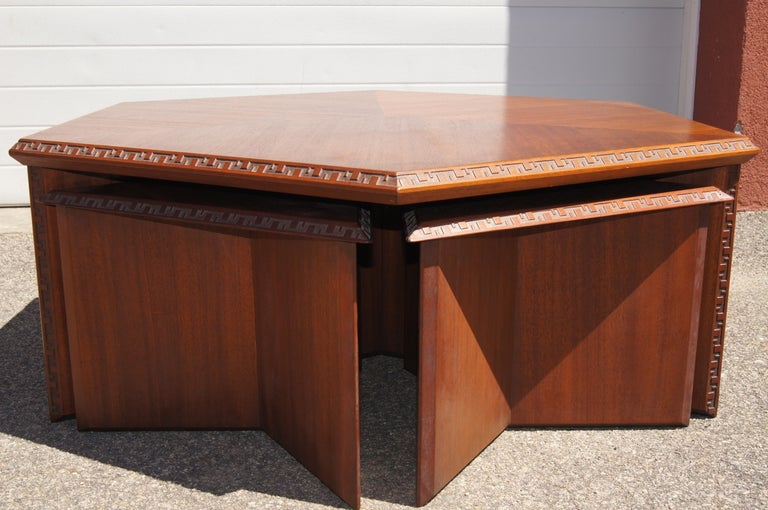Mid-Century Modern Complete Taliesin Coffee Table Set by Frank Lloyd Wright for Heritage-Henredon For Sale