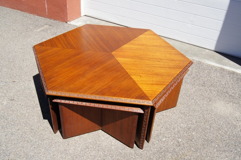 Carved Complete Taliesin Coffee Table Set by Frank Lloyd Wright for Heritage-Henredon For Sale