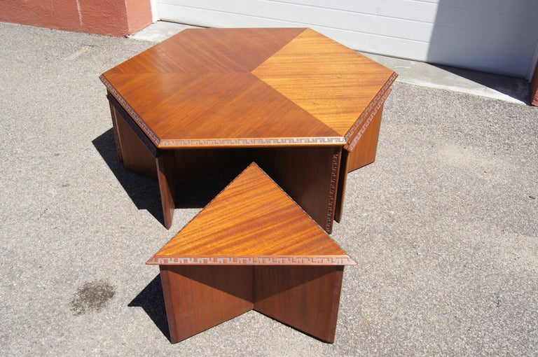 Complete Taliesin Coffee Table Set by Frank Lloyd Wright for Heritage-Henredon In Good Condition For Sale In Boston, MA