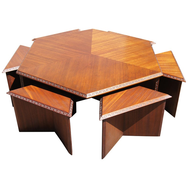 Complete Taliesin Coffee Table Set by Frank Lloyd Wright for Heritage-Henredon For Sale