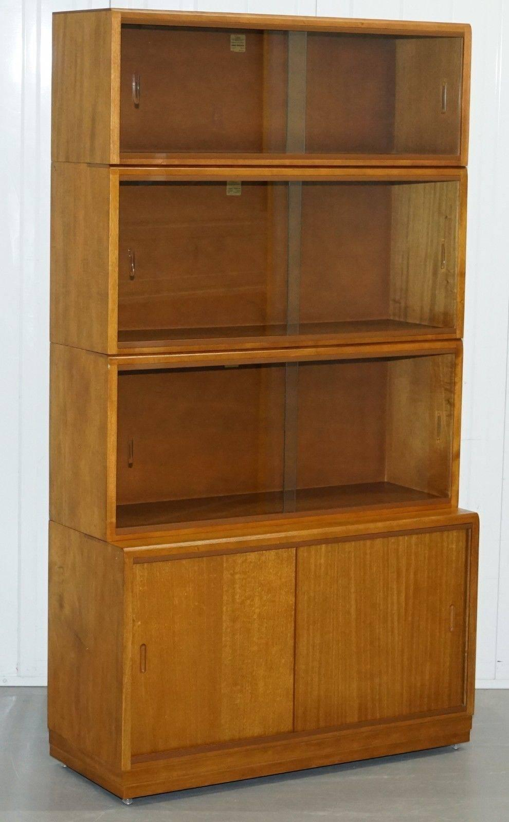 Complete Library Suite Of 1960s Simplex Honey Oak Stacking