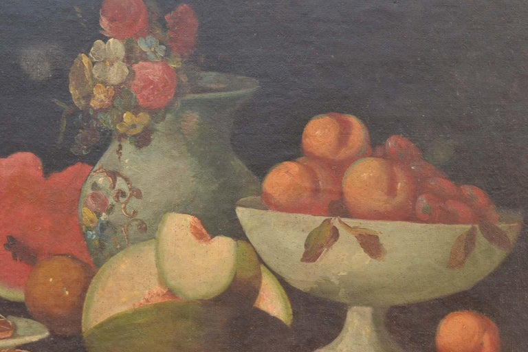 Complete Series of Six Late 18th Century Spanish Still Life Oil Paintings For Sale 6