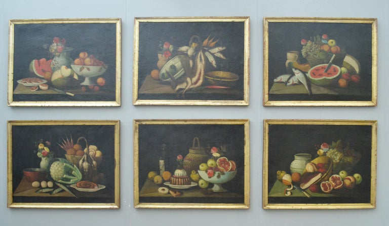 Complete Series of Six Late 18th Century Spanish Still Life Oil Paintings In Good Condition For Sale In London, GB